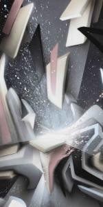 Mirko Reisser (DAIM) | DAIMwave - Shining splashes, 2016, Spraypaint on aluminium honeycomb sandwich plates, 205 x 125 cm / 80.70 x 49.21 inch