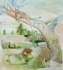 Siegfried Anzinger - Löwe am Baum, 2016, Tempera on canvas, 140 x 125 cm|55.1 x 49.2 in