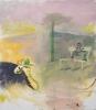 Siegfried Anzinger - Cowboy im Feld, 2016, Tempera on canvas, 140 x 125 cm / 38.2 x 33.8 in
