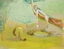Siegfried Anzinger - Orangener Felsen, 2016, Tempera on canvas, 130 x 100 cm / 51.2 x 39.4 in