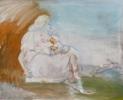 Siegfried Anzinger - Madonna orange, 2000, Distemper on canvas, 130 x 160 cm / 51.2 x 63 in