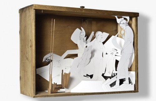 "Nina Annabelle Märkl - ""Games"", 2011, Ink on paper, Cut-outs, drawer, 45,5 x 63 x 20 cm"