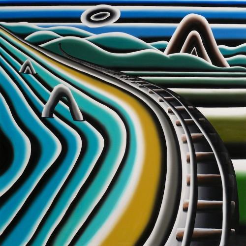Gleise am Meer, 2013, Acryl auf Nessel, 200 x 200 cm