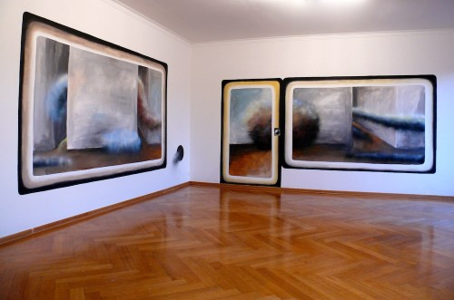 "Andreas Schulze - Wall painting ""Nebel in der Wohnung"", 2013"