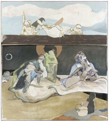 """""""Geburt und Pietà"""", 2012,Leimfarbe auf Leinwand, 190 x 170 cm / Distemper on canvas, 74.8 x 66.9 in"""