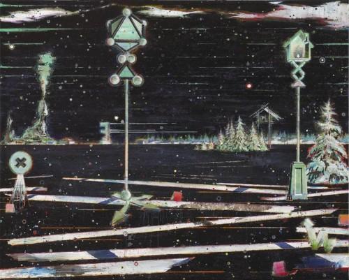 Vexiere 8 Grünes Totem 1, 2014, Oil on canvas, 160 x 200 cm