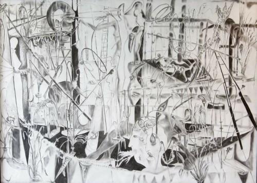Lola Sprenger - ohne Titel, Charcoil on paper, 150 x 170 cm