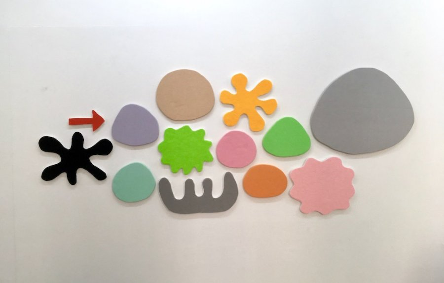 Saskia Friedrich - Wonder Bloomy into Futures, 2017, felt and fabric on foam core, 84 x 222 cm