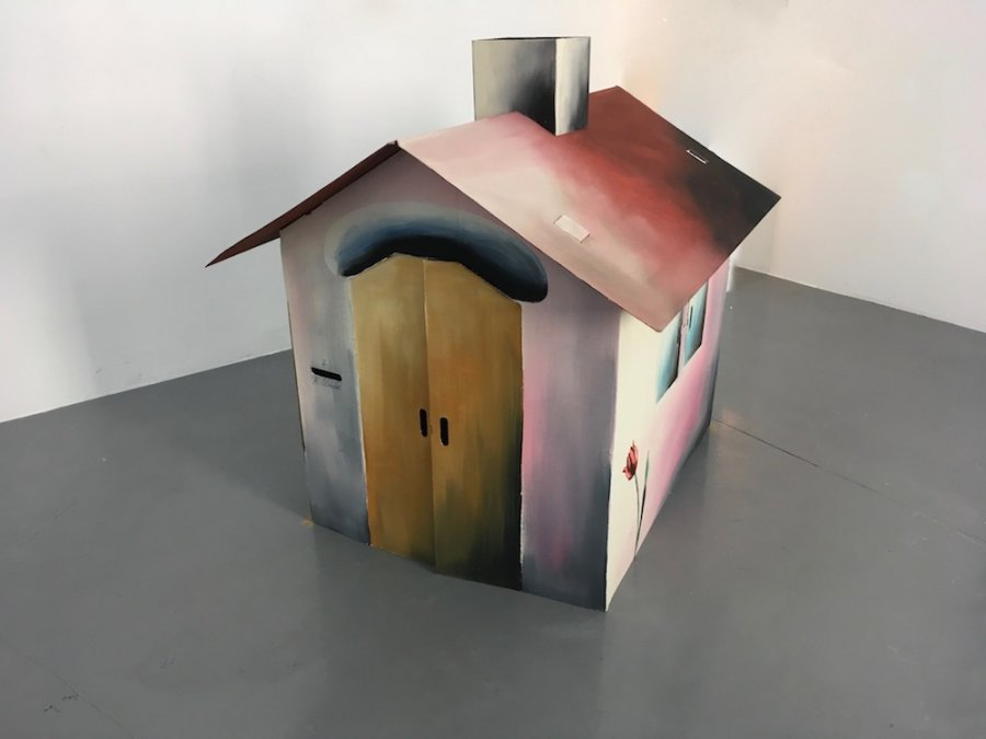 Andreas Schulze - untitled (Haus Nr.7), 1989, Oil on cardboard, 115 x 102 x 125 cm