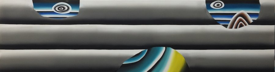 Andreas Schulze - untitled(autostrada), 2016, Acrylic on canvas, 60 x 220 cm