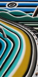 Andreas Schulze - Gleise am Meer, 2013, Acrylic on canvas, 200 x 200 cm