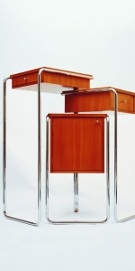 Gert M Weber - Tiran-Flügelschrank, 1993, stainless steel, wood, 106 x 41,5 x 58,5 cm