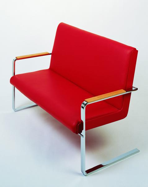Gert M Weber - S-12 Verlobungsbank, 1985, stainless steel, wood,leather, 40 cm x 130 cm