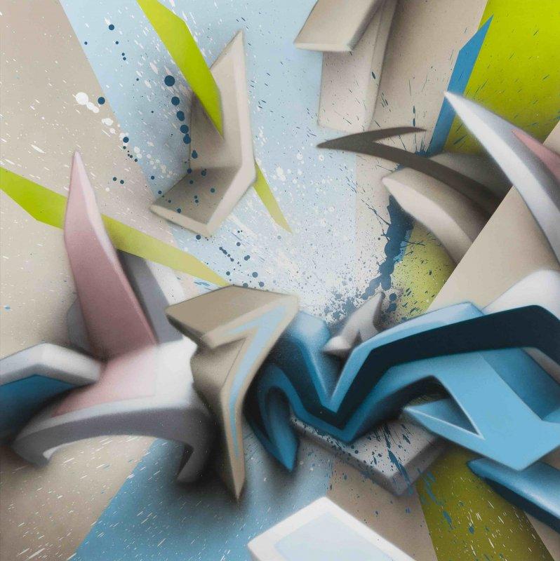 Mirko Reisser (DAIM)   DAIM - Backsplash, 2017, Spraypaint on aluminium honeycomb sandwich plate, 140 x 140 cm / 55.11 x 55.11 inch