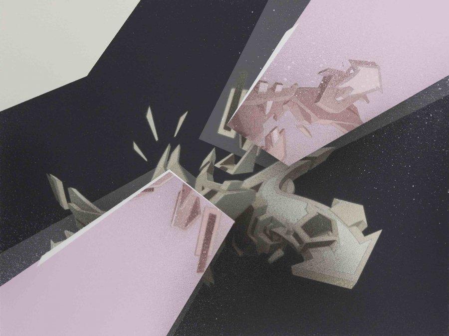 Mirko Reisser (DAIM)   DAIM - all directions - pink mirror, Spraypaint with 2x 5 stencils on wood, 30 x 40 x 3 cm / 11.81 x 15.74 x 1.18 inch