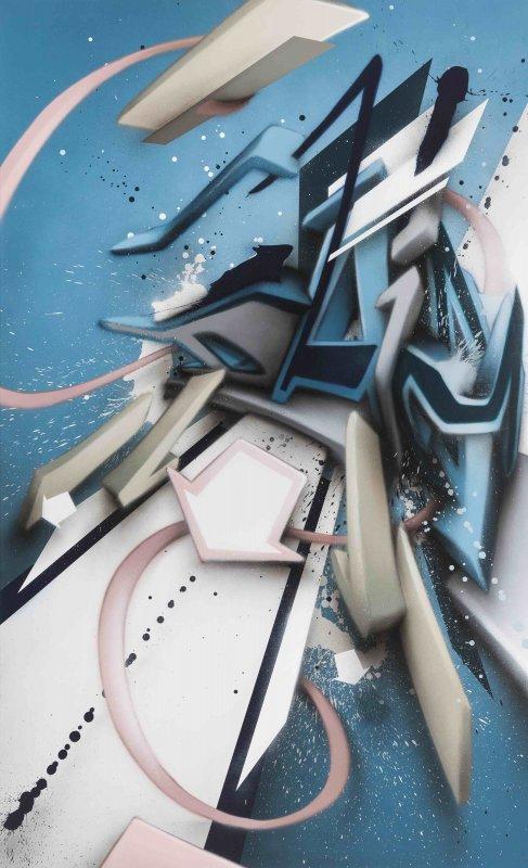 Mirko Reisser (DAIM)   DAIMaround - Dynamic splash, 2017, Spraypaint on aluminium honeycomb sandwich plate, 205 x 125 cm / 80.70 x 49.21 x 0.59 inch