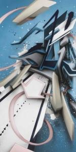 Mirko Reisser (DAIM) | DAIMaround - Dynamic splash, 2017, Spraypaint on aluminium honeycomb sandwich plate, 205 x 125 cm / 80.70 x 49.21 x 0.59 inch