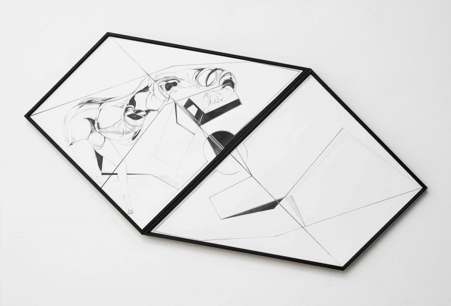 Nina Annabelle Maerkl - Scapes 4, 2016, Ink on paper, wood, 89 x 145 x 5 cm / 35 x 57.1 x 2 in