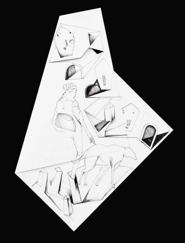 Nina Annabelle Maerkl - Fragmented fiction XI, 2016, Ink on folded paper,cut outs, 58 x 38 cm