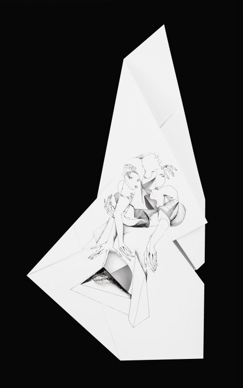 Nina Annabelle Maerkl - Fragmented fiction XII, 2016, Ink on folded paper,cut outs, 48 x 30 cm