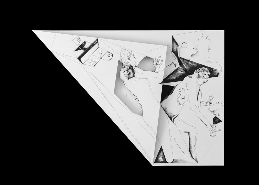 Nina Annabelle Maerkl - Fragmented fiction XIV, 2016, Ink on folded paper,cut outs, 56 x 38 cm
