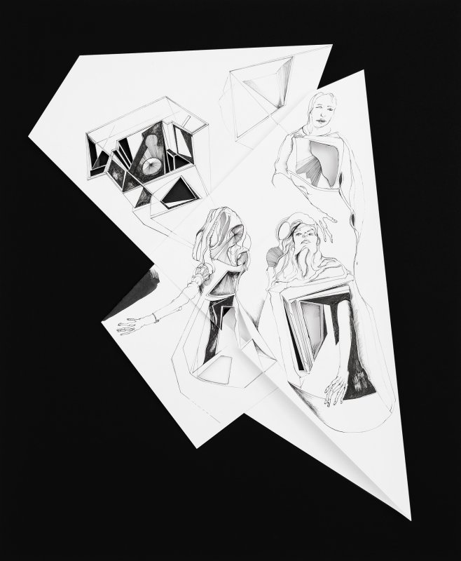 Nina Annabelle Maerkl - Fragmented fiction IX, 2016, Ink on folded paper,cut outs, 44 x 36 cm