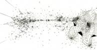 """Ralf Ziervogel, """"Andre Schlechtriem die Hand geben"""", Ink on paper 2012"""