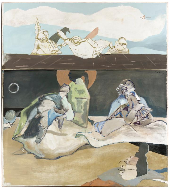 Siegfried Anzinger - Geburt und Pietà, 2012, Leimfarbe auf Leinwand 190 x 170 cm / 74.8 x 66.9 in