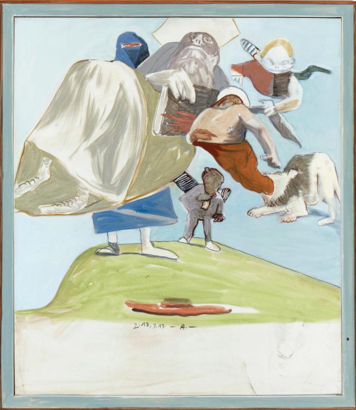Siegfried Anzinger - Hut des Hieronymo, 2012, Leimfarbe auf Leinwand 150 x 130 cm / 59 x 51.2 in