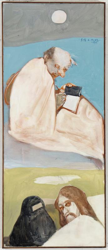 Siegfried Anzinger - Noli me tangere, 2012, Leimfarbe auf Leinwand 125 x 50 cm / 49.2 x 19.7 in